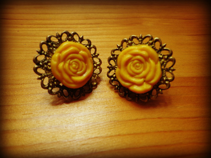 Yellow Rose Cabochon Earrings - Antique Brass