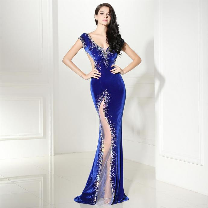3da1006123 Royal Blue Mermaid Prom Dresses For Women 2018 Open Back Evening Gowns  Formal