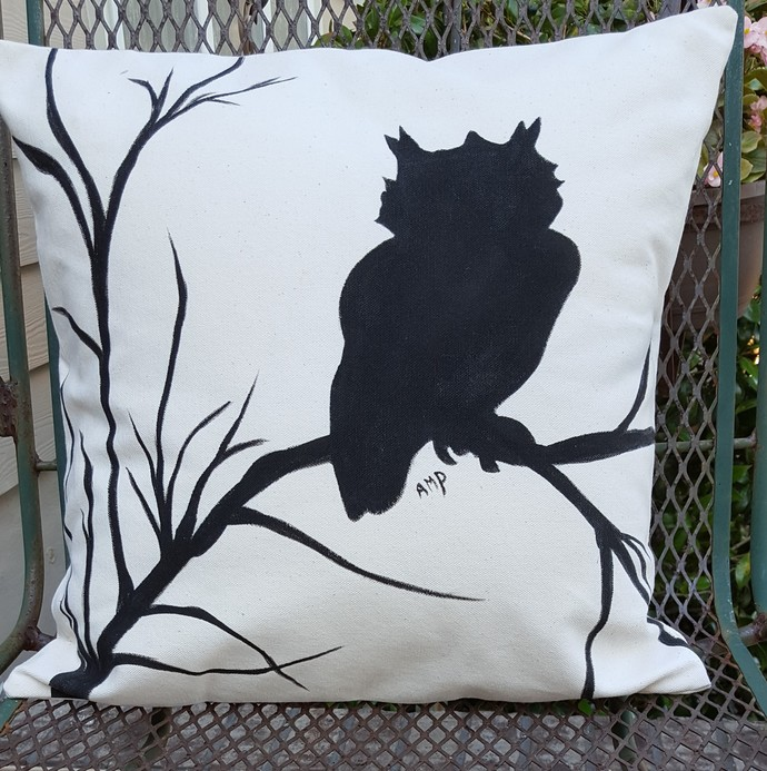 Decorative Pillow Cover - Owl Lover's Delight - Owl Silhouette Pillow Cover -