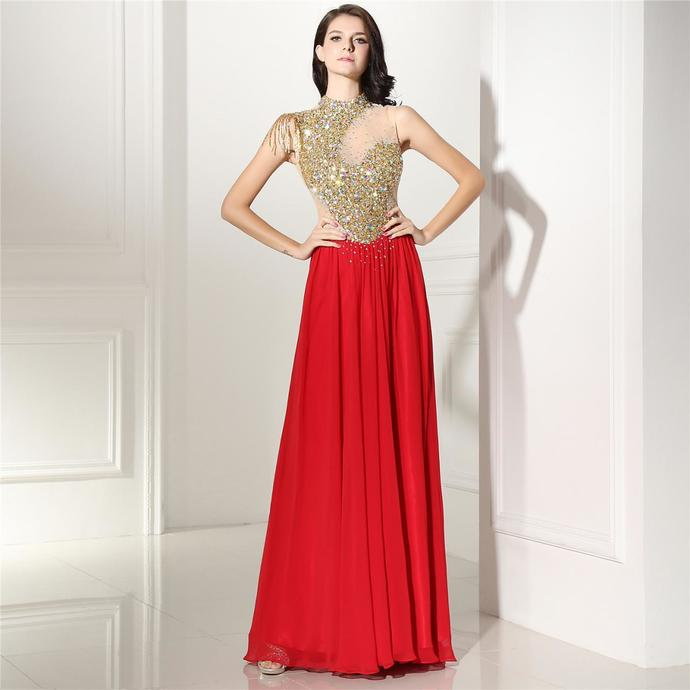 Red Beaded Prom Dresses,High Neck Formal by lass on Zibbet