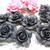 """XL Goth Flatback Mat Cabochon Clay Rose Flower - 1 3/4"""" Black, 1 1/4 Black stl"""
