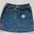 Girl's Denim Skirt -  Upcycled Hand Painted Denim Skirt - Hearts and Daisies -