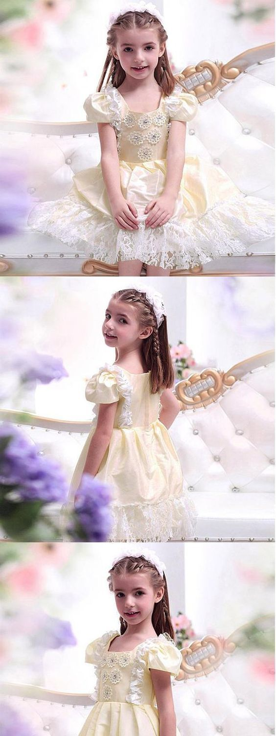 Cute beaded ivory lace flower girl dresses with by meetbeauty on cute beaded ivory lace flower girl dresses with handmade flowers cheap flower izmirmasajfo