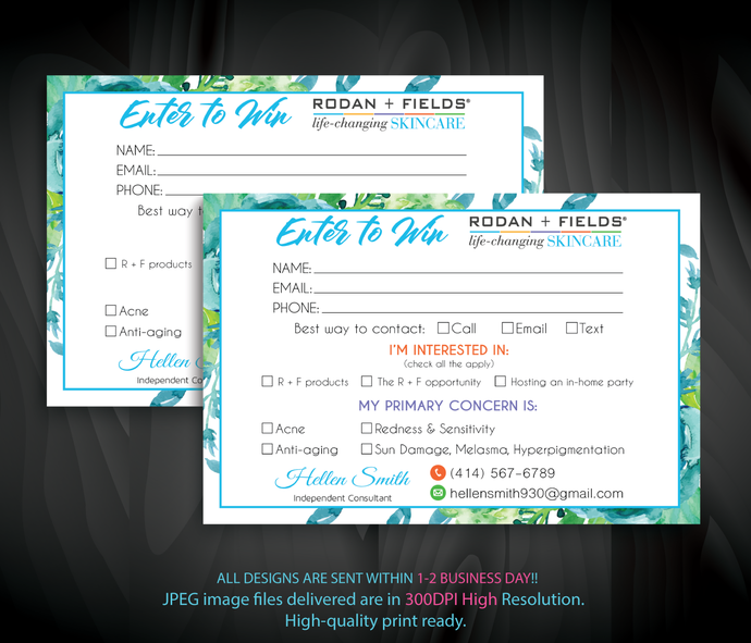 Rodan and Fields Enter to win Cards, Rodan and Fields Enter to win, Rodan and