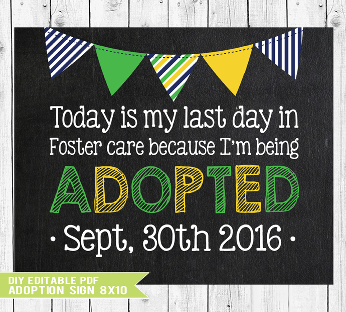Adoption Gifts, Adoption Day, Editable Adoption chalkboard sign, Adoption Art,