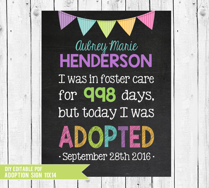 Printable Girl Adoption sign, Adoption Gifts, Foster Care, Adoption