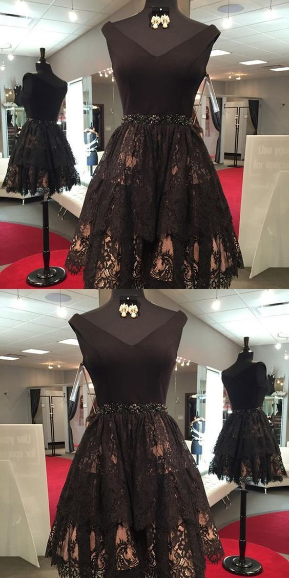 Black Short Lace Homecoming Dresses with Beading, Vintage Dresses for Freshman
