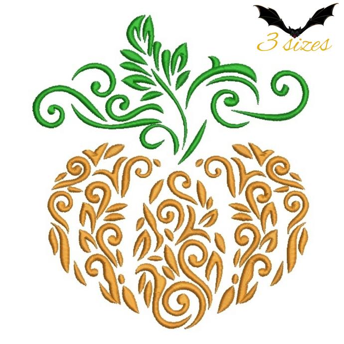 Pumpkin embroidery machine designs ornamental digital instant download pattern