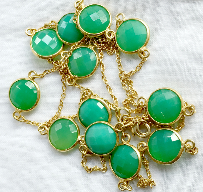Beautiful  !  925 Sterling Silver Faceted Natural Chrysoprase Apple Green Royal