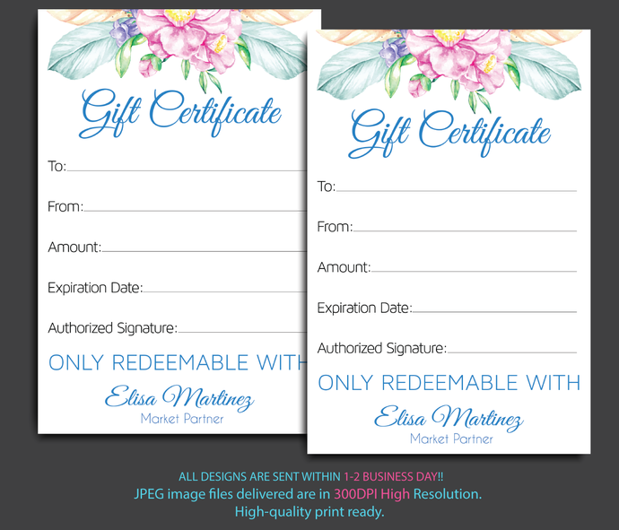 Monat Gift Cards Personalized Gift Certificate By Digitalart On