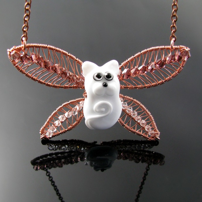 Cat fairy - lampwork cat pendant with wire woven wings