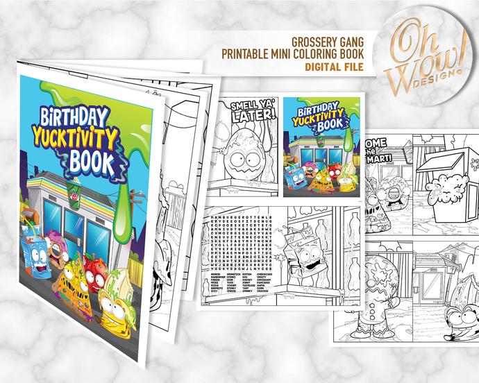 Grossery Gang Birthday Mini Coloring Book: Digital file