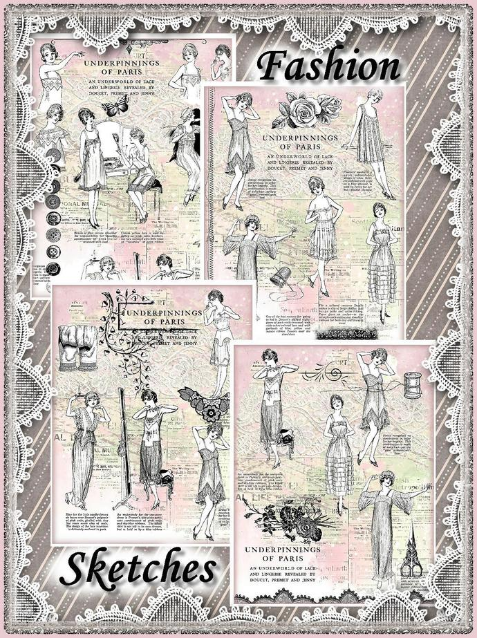 Vintage Paris Fashion Sketches Collage Background Papers Set - Digital Printable