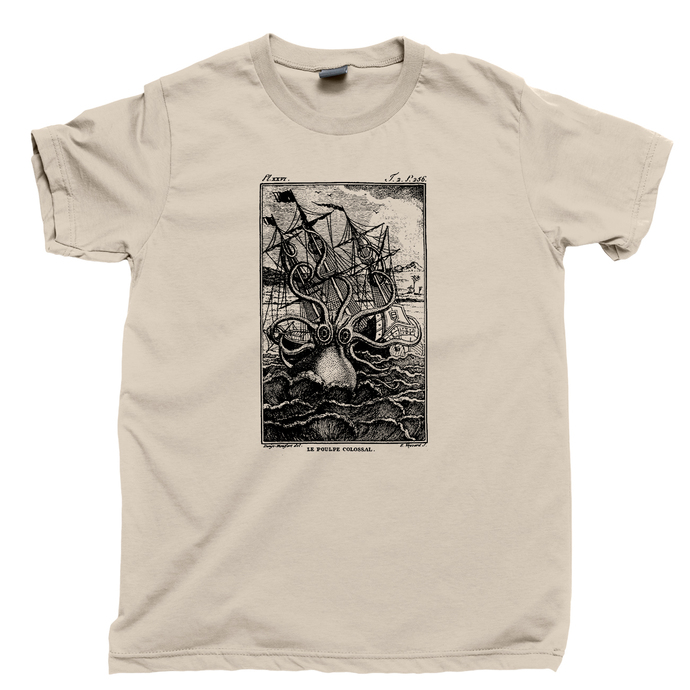 Kraken Attack Men's T Shirt, Giant Octopus Squid Shark Attack Davy Jones Ship