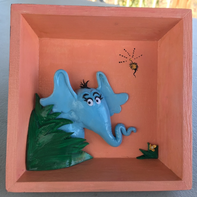 """Small open shadowbox with 3D """"Horton the Elephant"""""""