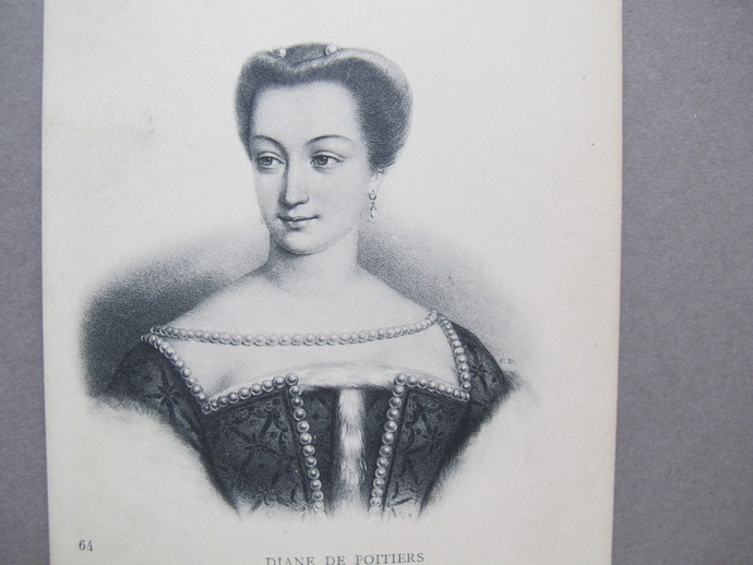 Diane de Poitiers post card / French nobility antique postcard / French Royalty
