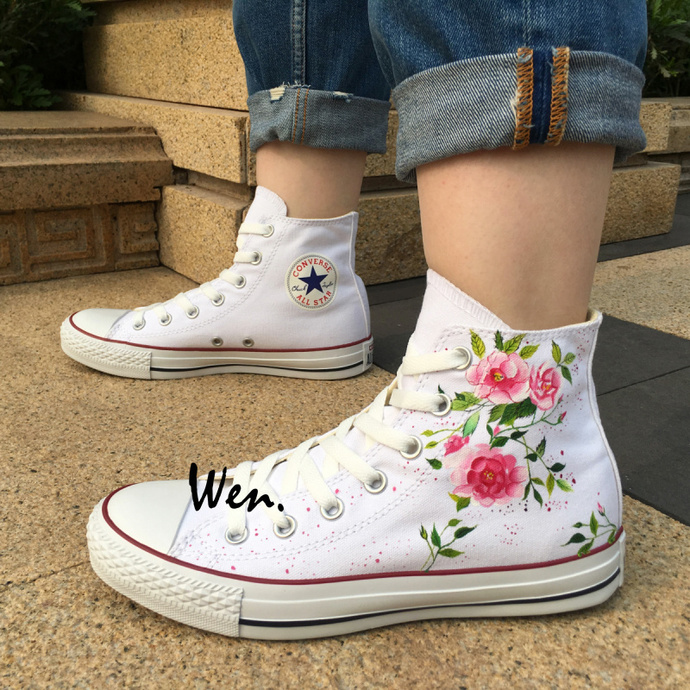 Custom Design Converse Wen Hand Painted Shoes Floral Flowers High Top White