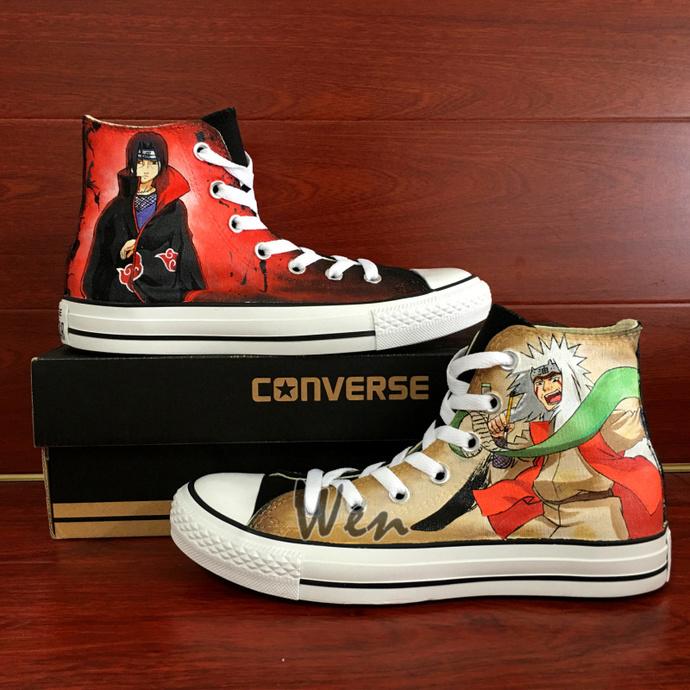 367c3445ccd5 Naruto Converse Wen Hand Painted Shoes Itachi Jiraiya Sharingan High Top  Black
