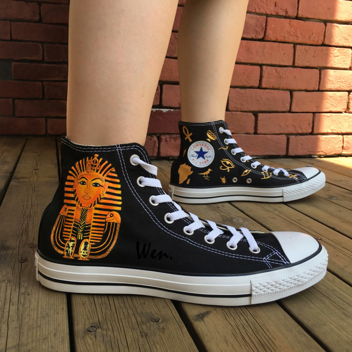 Custom Design Egyptian Converse Shoes Wen Hand Painted Shoes Egypt Queen Pharaoh High Top All Black Canvas Sneakers