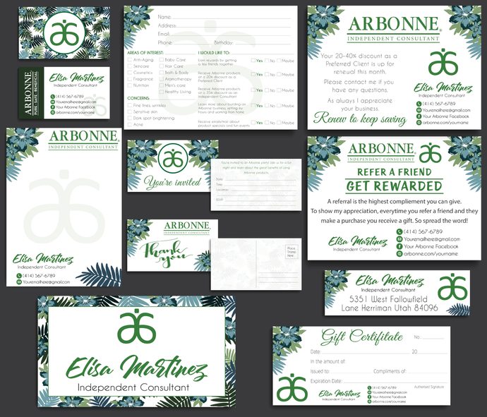 Arbonne Marketing Kit, Arbonne Consultant Cards, Personalized Arbonne Marketing