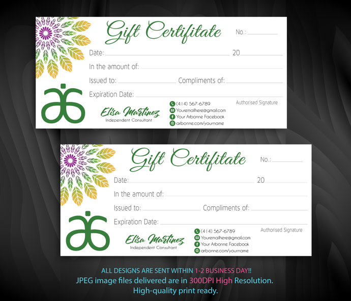 Arbonne Gift Certificate cards, Arbonne Gift Certificate, Arbonne Consultant,