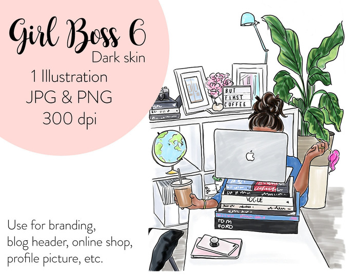 Watercolor fashion illustration - Girl boss 6 - Dark Skin