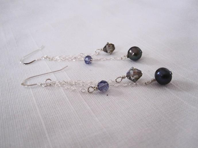 Black Peacock Pearl & Swarovski Crystal Earrings