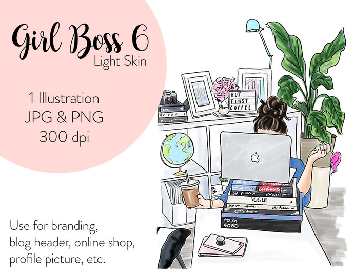 Watercolor fashion illustration - Girl boss 6 - Light Skin