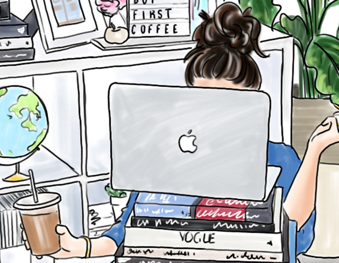 Watercolor fashion illustration - Girl boss 6 - Light Skin
