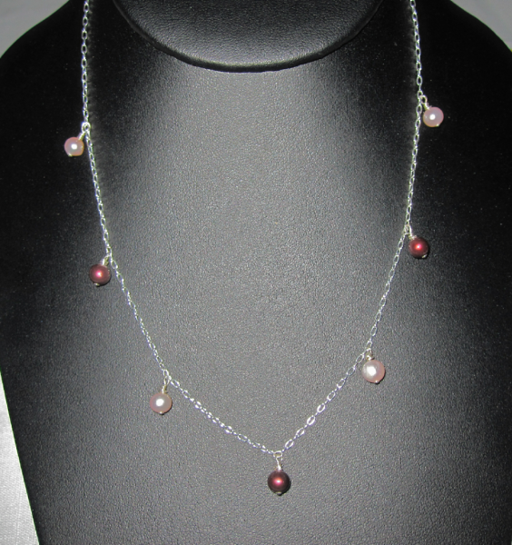 """16"""" Red & White Pearl Dangle Necklace"""