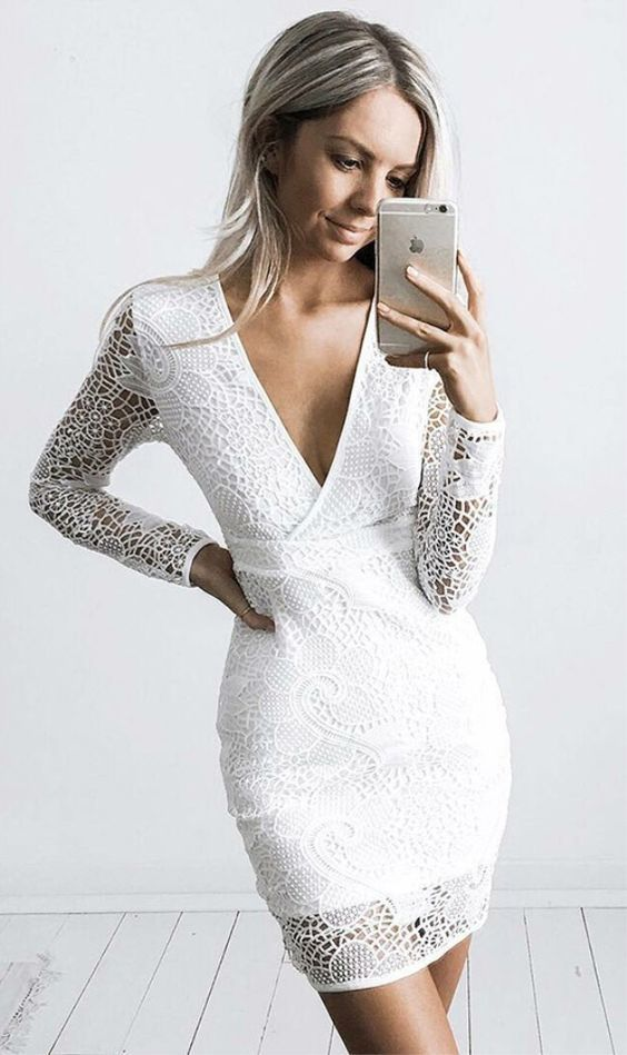 0b43f1d9539d Sheath V-neck Long Sleeves Short White Lace Homecoming Cocktail Dress