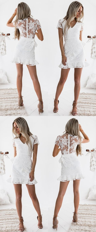 be1cb5cbbce Sheath V-neck Short Sleeves Short White Lace Homecoming Cocktail Dress