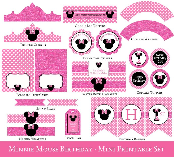 First Birthday Minnie Party Printable Decorations Minnie Mouse Printable Party Set Minnie Mouse Party Printables Minnie Mouse Birthday