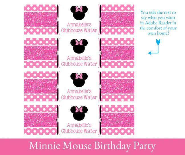 First Birthday Minnie Party Printable decorations, Minnie Mouse Printable Party