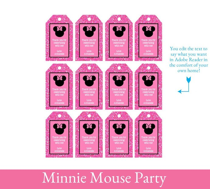Minnie Mouse 3rd Birthday Party Printable Decorations - Minnie Mouse Party