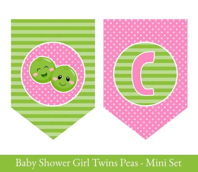 TWIN GIRLS Printable Baby shower, 2 Peas in a pod, Twins baby shower, Peas in a