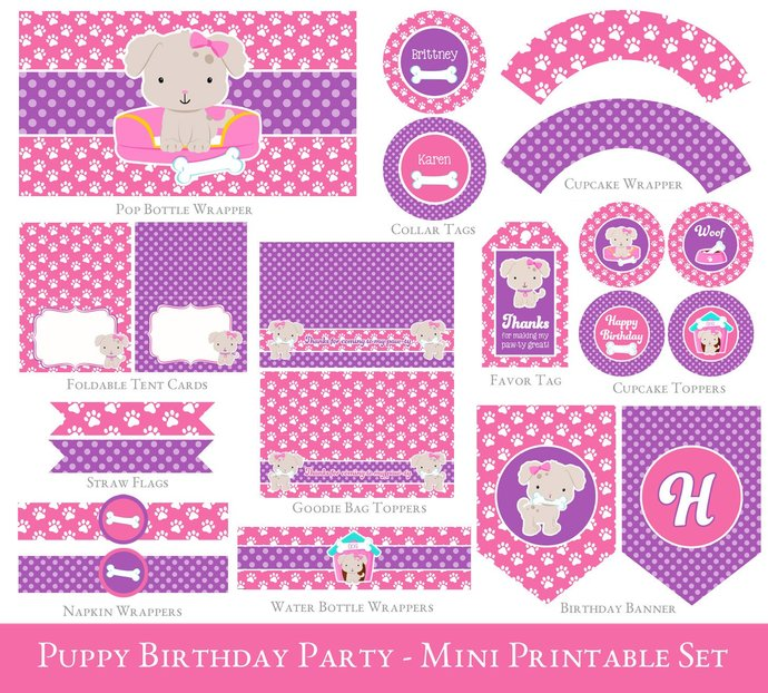 Puppy Party Printable Set, Pink Puppy birthday, Puppy Birthday printables, Puppy