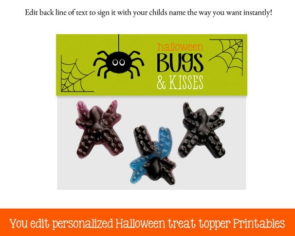 Halloween Bag Toppers, Bugs and Kisses Halloween Treat Topper, Halloween favors,