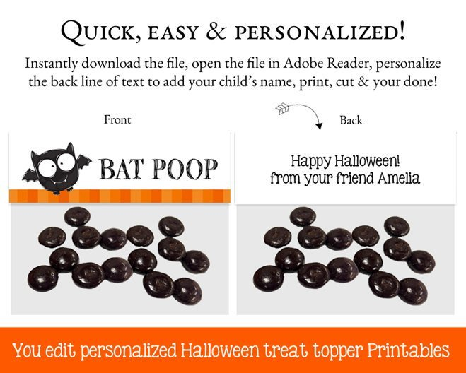 Halloween Goodie Bag Toppers, Goodie Bag Topper, Loot Bag Label, Halloween