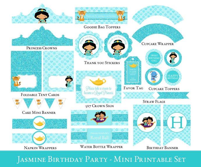 photo about Printable Party Decorations named Jasmine Birthday Celebration Printable fixed, Jasmine Printable Occasion package, Princess Jasmine celebration decorations, Female Birthday