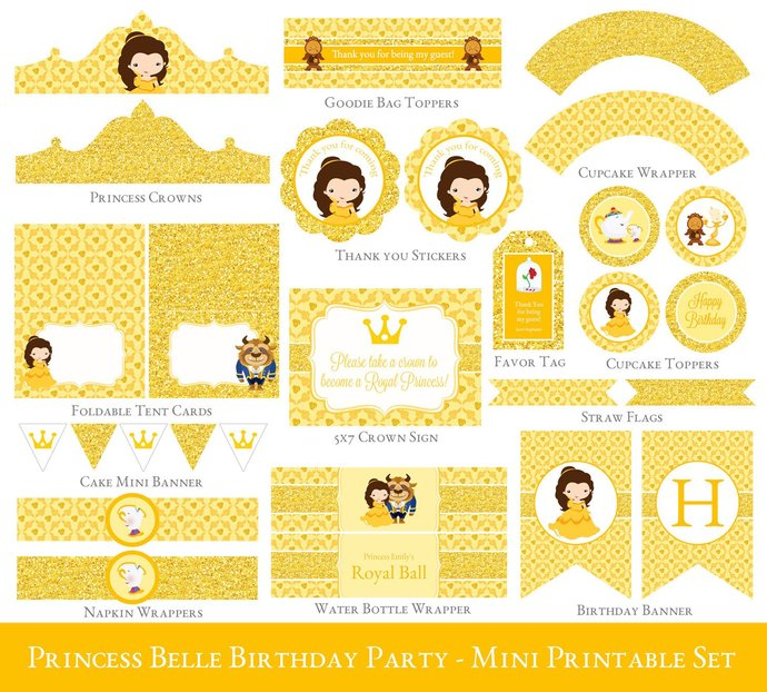 photograph relating to Free Printable Beauty and the Beast Birthday Invitations called Princess Belle Printable Occasion Mounted, Belle Birthday Celebration Printables, Natural beauty and the Beast, Princess Belle Occasion Decorations