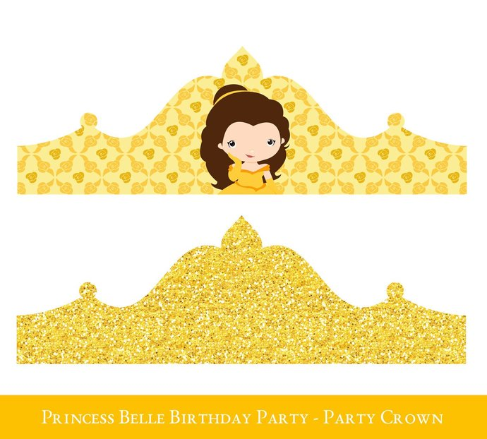 Princess Belle Printable Party Set, Belle Birthday Party Printables, Beauty and