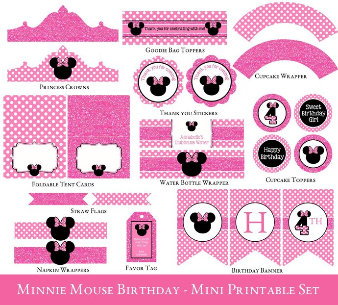 Minnie Mouse 4th Birthday Party Decorations Girl Printable Kit