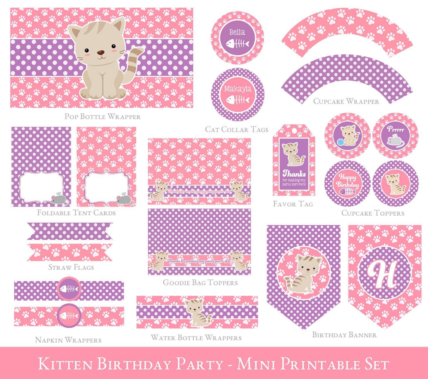 Girl Birthday Pink Kitten Party Set By Sugarpickle Designs On Zibbet
