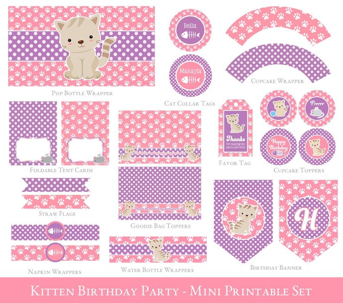 Girl Birthday Pink Kitten Party Set, Pink Kitty Party Printables, Cat Birthday