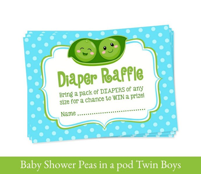 TWIN BOYS Baby Shower Printable Set, Twins party, 2 Peas in a pod Twins baby
