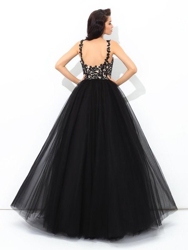 Ball Gown Straps Applique Sleeveless Long Net Quinceanera Dresses