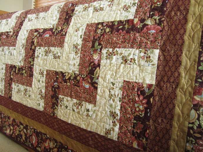 Quilt Handmade Asian Inspired Quilt Rail Fence Quilt Homemade Quilt Lap Quilt