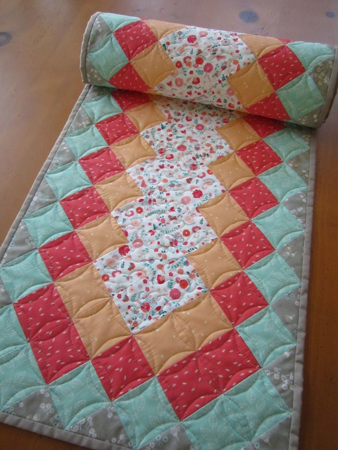 Quilted Table Runner Floral Handmade Runner Handmade Gifts Runner Home Decor