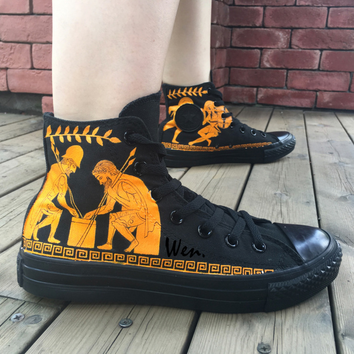 80c0747a5503 Custom Hand Painted Shoes Converse Chuck Taylor Red-Figure High Top All  Black
